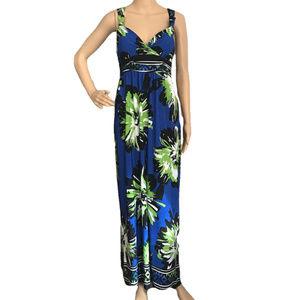 OLIVIA MATTHEWS Floral Stretch Maxi Dress Blue 16